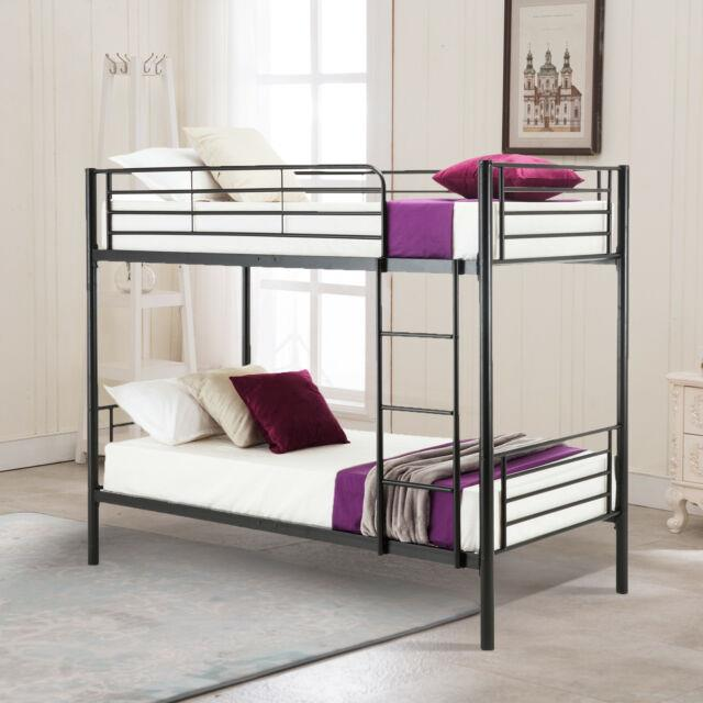 Metal Twin Over Twin Bunk Bed Frame With Ladder For Children Adult Bedroom Dorm
