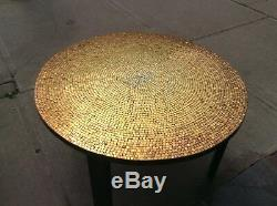 Mid Century Modern Mosaic Metallic Tile Top Coffee Table Gold Copper Silver