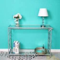 Mirrored Acent Desk Console Table Silver Glass Table Entryway Hallway Hall Table