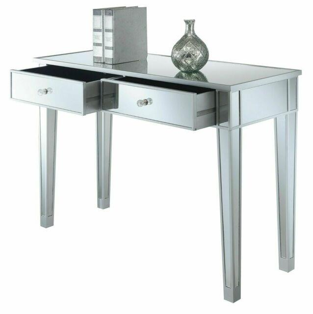 Modern 2-drawers Mirrored Console Table Silver Bedroom Vanity Table Furniture