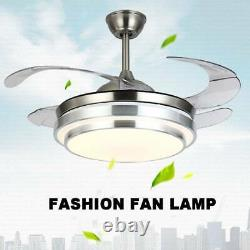 Modern 42 Invisible Ceiling Fans with 3-Color LED Light Fan Chandelier+remote