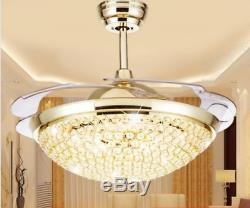 Modern 42 LED Crystal Invisible Ceiling Fan Light Remote Control Chandelier