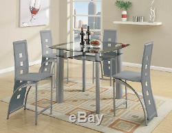 Modern 5pc Calhana Black Glass Top Silver Metal Gray Counter Dining Table Set