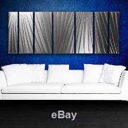 Modern Abstract Metal Wall Art Silver Panels Sculpture Home Decor In / Outdoor
