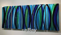 Modern Abstract Painting Blue/Silver Metal Wall Art Decor Psychedelic Rush XL