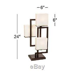 Modern Accent Table Lamps Set of 2 with USB Metal Glass Shade for Bedroom Office