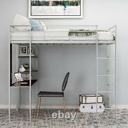 Modern Adult & Teen Metal Workstation Loft Bunk Bed Twin Size Silve with Desk