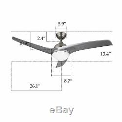 Modern Ceiling Fan with LED Panel Light & Remote Control Silver Color Blades