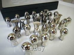 Modern Chess Set Italian Brushed Stainless Steel + Board And Box