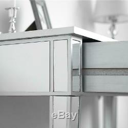 Modern Console Table/Desk Mirrored Makeup Table Desk Vanity Silver Finish Drawer