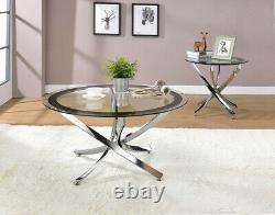 Modern Contemporary 2-Piece Occasional Set Coffee and End Table Glass & Chrome