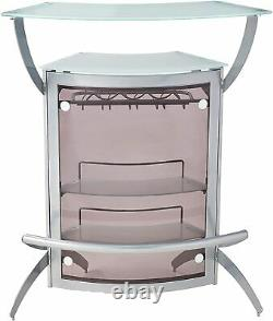 Modern Contemporary 2-shelf Bar Wine Unit with Glass Top Silver Frosted / Smoke
