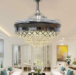 Modern Crystal Silver LED Chandelier 42inch Invisible Ceiling Fan Light withRemote