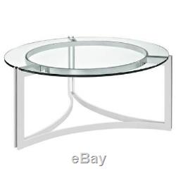 Modern Design Coffee Table with Round Tempered Glass Top & Polished Stainless Base