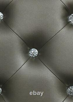 Modern Glamorous Eastern King Bed Button Tufted Headboard with LED Lighting