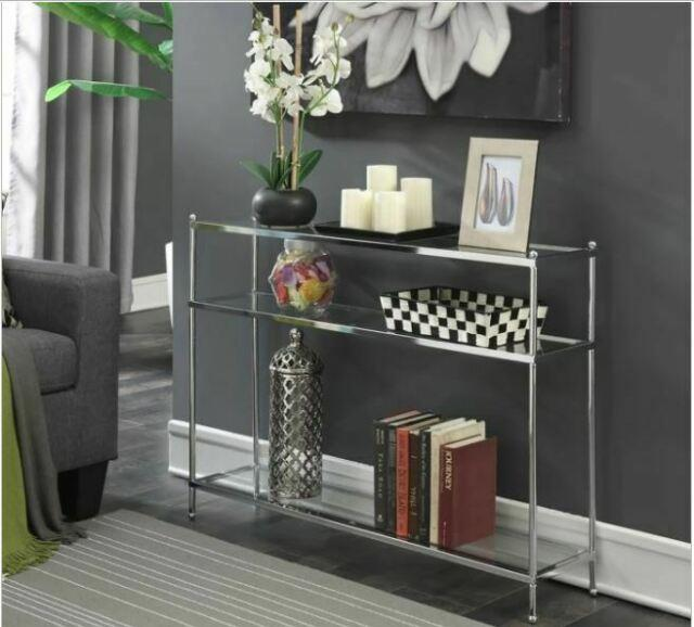 Modern Glass Console Sofa Table Accent Metal Narrow Foyer Entry Living Room