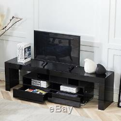 Modern High Gloss TV Stand Unit Cabinet With LED Lights Shelves 2 Drawers Black