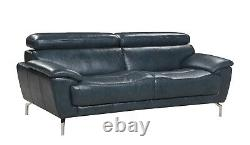 Modern Mid Century Furniture Sofa Leather Couch in Navy Blue, Chrome Silver Legs