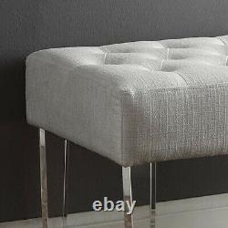 Modern Plush Upholstered Bench Button Tufted Acrylic Leg Living Room Accent Seat