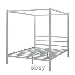 Modern Queen Size Metal Frame Canopy Platform Bed with Built-in Headboard Silver