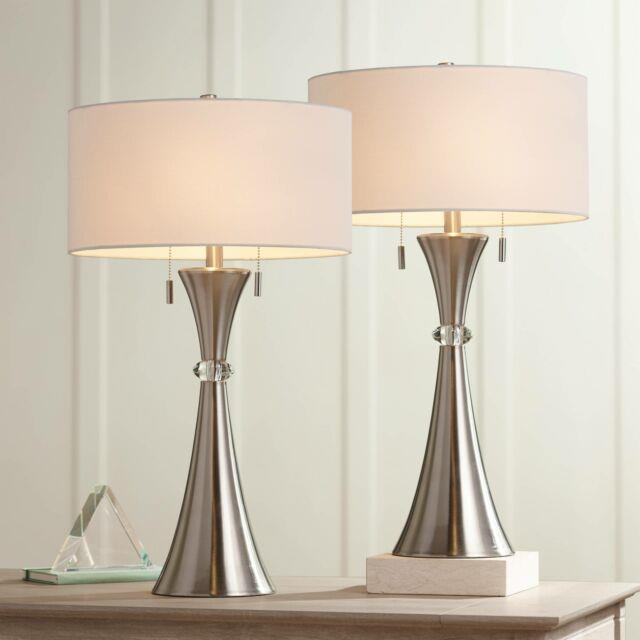 Modern Table Lamps Set Of 2 Concave Column Hourglass Metal Living Room Bedroom