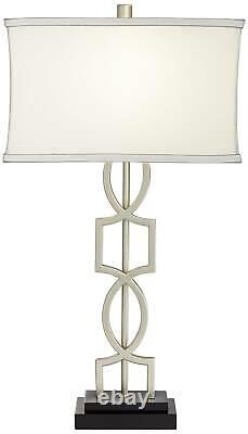 Modern Table Lamps Set of 2 with USB Brushed Nickel for Living Room Bedroom
