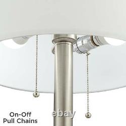 Modern Table Lamps Set of 2 with USB Port Nickel Mercury Glass for Living Room