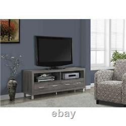 Monarch Specialties 60 Entertainment TV Stand with 4 Drawers, Dark Taupe (Used)