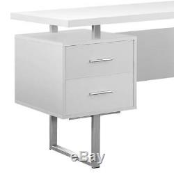 Monarch Specialties 60-Inch Modern Home Office Computer Desk with Drawers, White