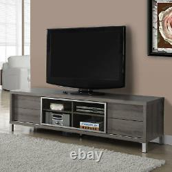 Monarch Specialties 70 Inch Dark Taupe Euro Style TV Console Entertainment Stand