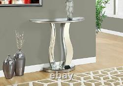 Monarch Specialties Console Table in Brushed Pewter & Mirror Finish, I-3727 New