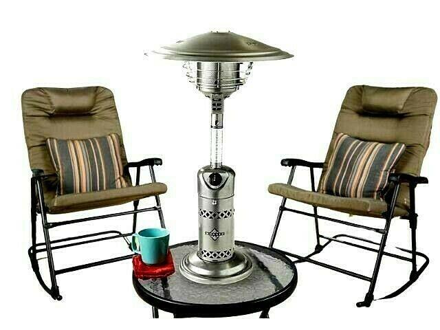 Mosaic Tabletop Propane Patio Heater 10000 Btu Outdoor Silver Newithsealed