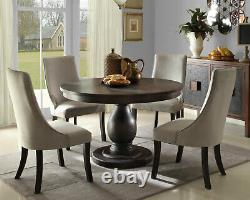 NEW Modern Brown Dining Room Furniture 5pcs Round Table & Gray Chairs Set IC6B