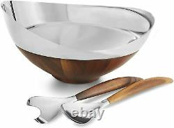 Nambe MT1191 Pulse Collection Salad Bowl with Servers, 13.66 Inch Brown Silver