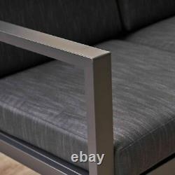 Navan Outdoor 4 Seater Aluminum Chat Set, Silver with Dark Grey Cushions