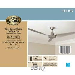 New Industrial High-Power 60 inch 3-Blades Brushed Steel Energy Star Ceiling Fan