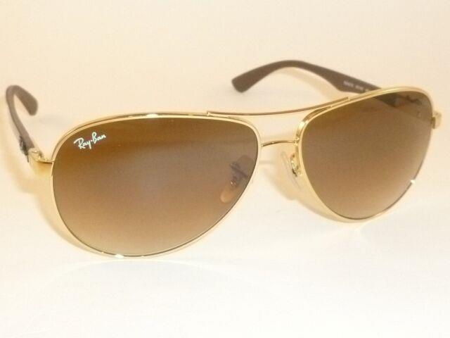 New Ray Ban Sunglasses Tech Gold Frame Rb 8313 001/51 Gradient Brown Lenses 58mm
