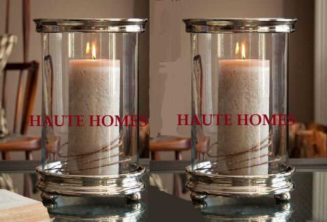 New Tuscan Large Silver Hurricane Candle Holder Modern Nickle Set/2