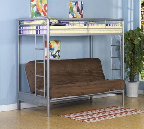 New Twin Over Full Futon Sofa Metal Bunk Bed Loft In Silver Free Shipping