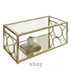 Olympia Glass Top Coffee Table in Gold Chrome