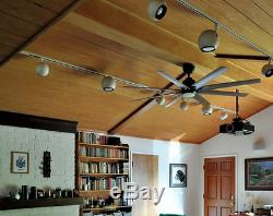 Outdoor/Indoor 72 Large Windmill Ceiling Fan + Remote Nickel LED Light Patio