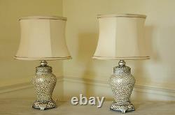 Pair Of Table Lamps Champagne Sparkle Mosaic Base Ivory Shade 46cm Height