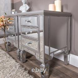 Pair of Silver Mirrored Bedside Tables Chest Bedroom Furniture Venetian Cabinet