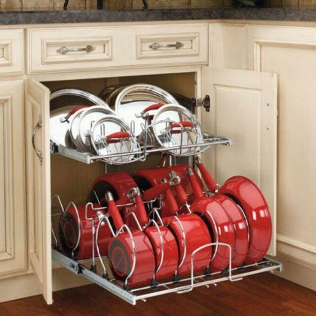 Pots And Pans Rack Kitchen Cabinet Organizer Cookware 2 Tier Pull Out Holder