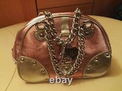 RARE! NEW Juicy Couture thick PINK & SILVER LEATHER Handbag withcharm