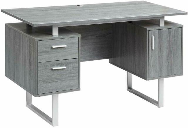Rta Modern White Glass Top Office Desk With Storage, Gray, New