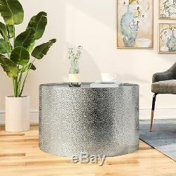 Rache Modern Round Coffee Table with Hammered Iron