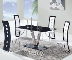 Rectangular Glass Top Dining Kitchen Table Modern Contemporary Elegant Silver