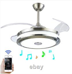 Remote 42'' Invisible Bluetooth Ceiling Fan Light Music Player LED Chandelier