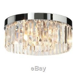 SAXBY CRYSTAL G9 Round Bathroom Ceiling Light Chrome with Clear Glass IP44 35612